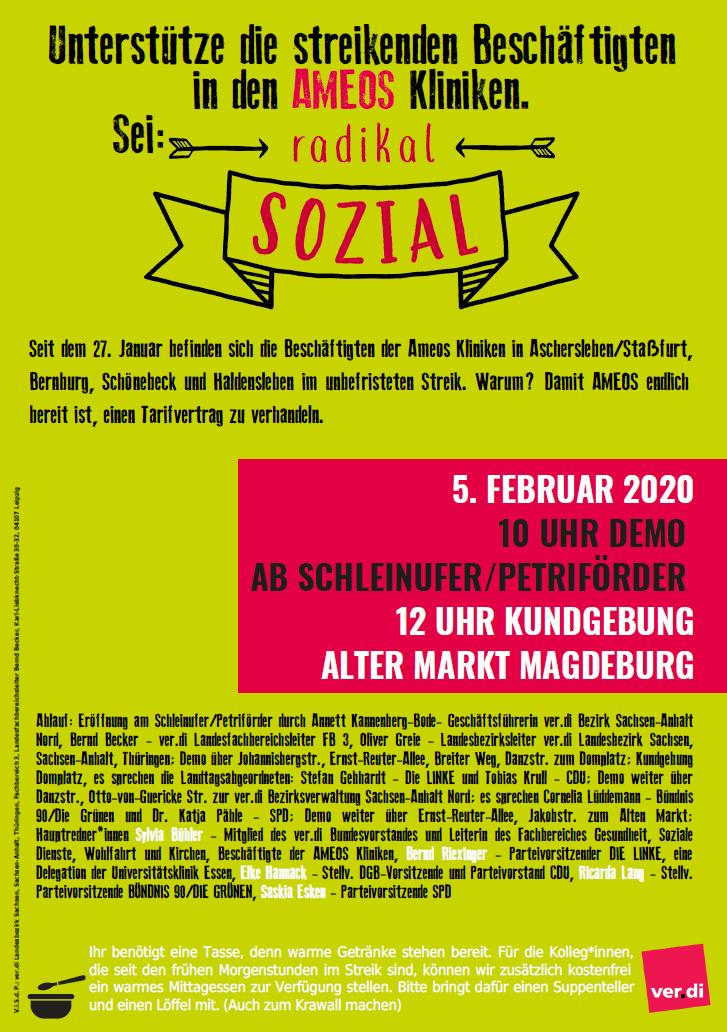 Aufruf zur Kundgebung für die AMEOS-Beschäftigten am 5.2.2020