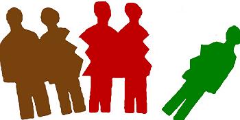 Grafik: Zerissene Silhouette einer Gruppe von Menschen